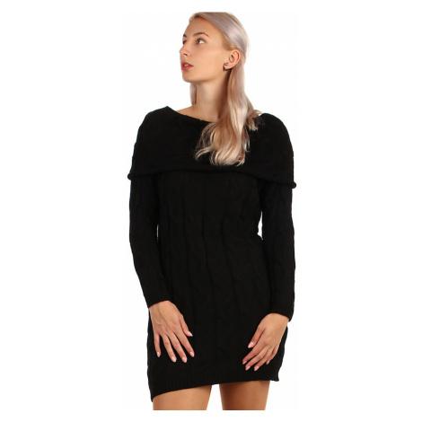 Dámské zimní úpletové svetrové šaty s dlouhým rukávem