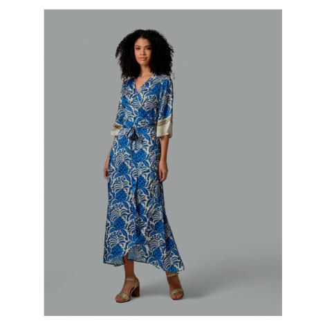 Šaty La Martina Woman Long Dress Printed Twill - Modrá