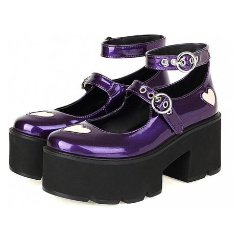 Lakované boty se srdíčky Mary Janes lodičky s pásky na vysoké platformě