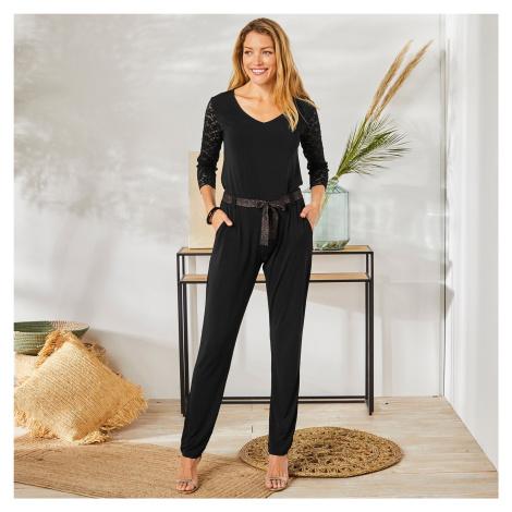 Blancheporte Jednobarevné úpletové kalhoty černá
