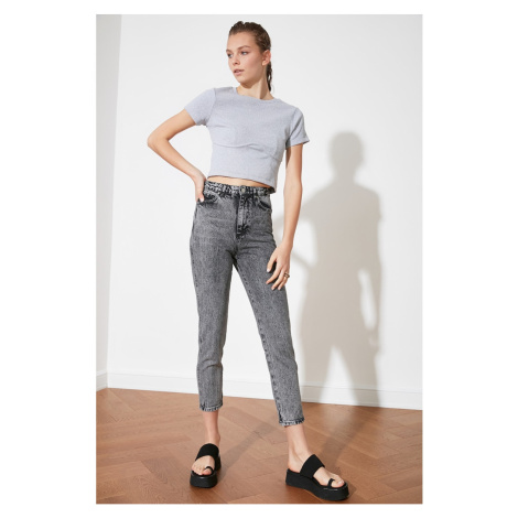 Trendyol Grey High Waist Mom Jeans