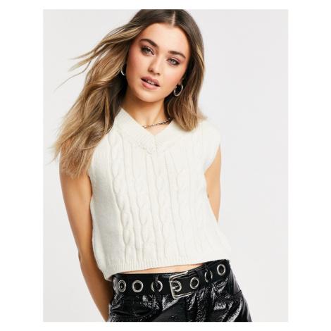 Topshop crop cable knit vest in cream