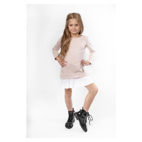 Pletené dívčí šaty dětské bavlněné s 34 rukávem a volánkem
