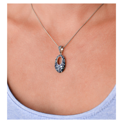 Sada šperků s krystaly Swarovski náušnice a přívěsek modrý ovál 39075.3 blue style Victum
