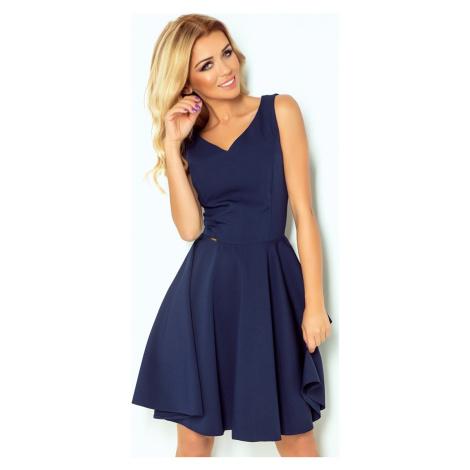 Tmavě modré šaty s výstřihem do V ARIANNA 114-7 NUMOCO