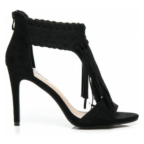 Semišové černé dámské sandály s třásněmi Sergio Todzi