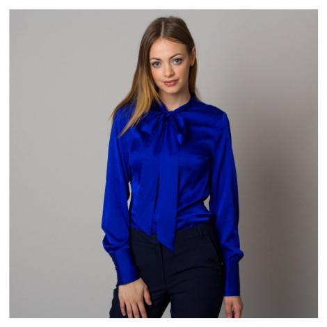 Dámská košile modré barvy s dlouhou mašlí 12528 Willsoor