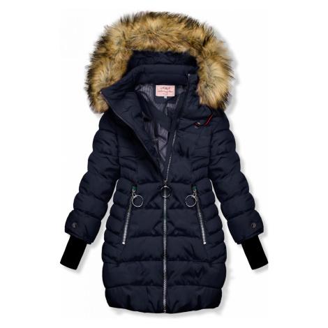 Tmavě modrá zimní bunda s prodlouženými rukávy Butikovo