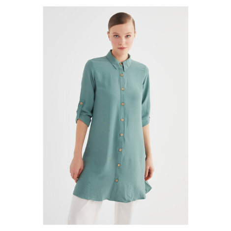Trendyol Green Shirt Collar Tunic