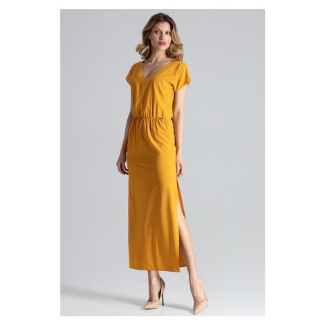 Žluté šaty M668 Figl