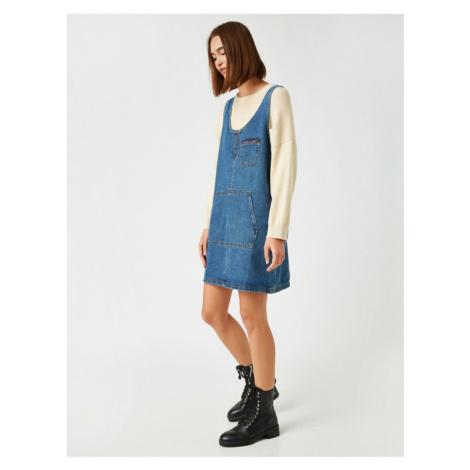 Koton Women's Blue Cotton Denim Dress