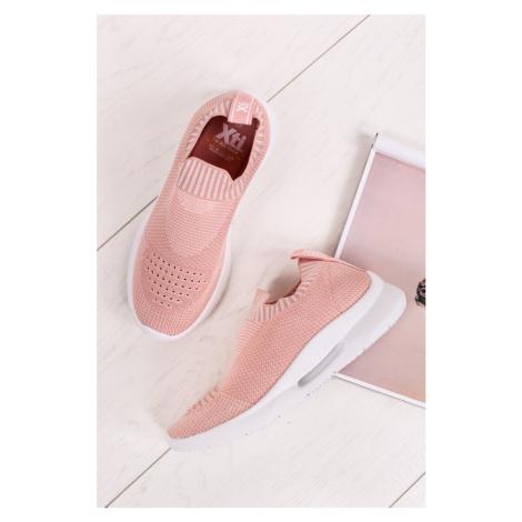 Světle růžové textilní tenisky 49823