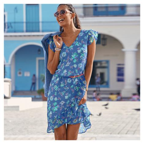 Blancheporte Volánové šaty s potiskem květin modrá/korálová