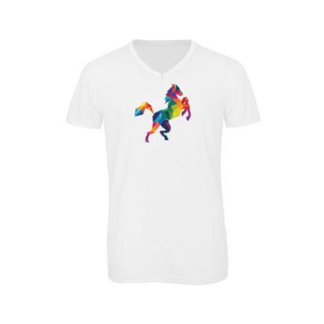 Pánské triko s výstřihem do V Kůň z polygonů