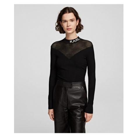 Svetr Karl Lagerfeld Pointelle Logo Sweater - Černá