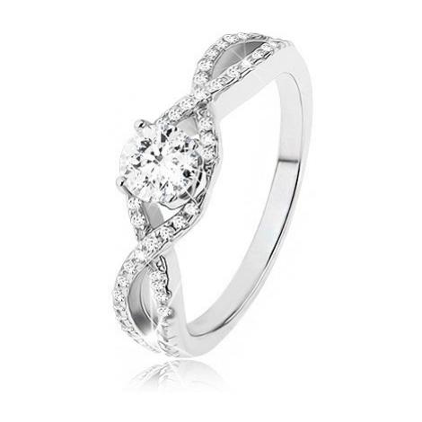 Zásnubní prsten ze stříbra 925, zirkonové vlny, vystupující kulatý zirkon Šperky eshop