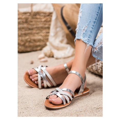 Designové šedo-stříbrné sandály dámské bez podpatku NIO NIO