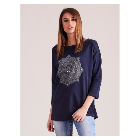 Navy blue blouse with jets and a print
