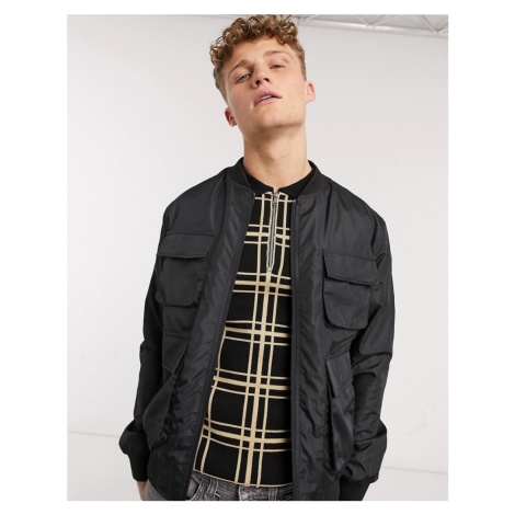 New Look 4 pocket utility bomber jacket in black