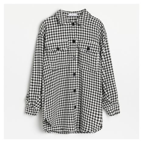 Reserved - Košilová bunda s pepitovým vzorem - Černý
