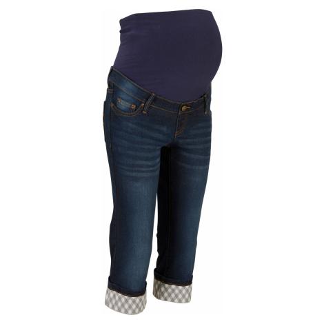 Těhotenské džíny Capri s kostkovanou manžetou