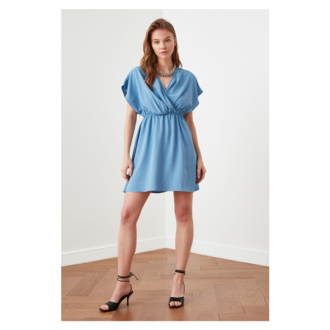 Trendyol Blue Waist Gathered Double Breasted Collar Dress