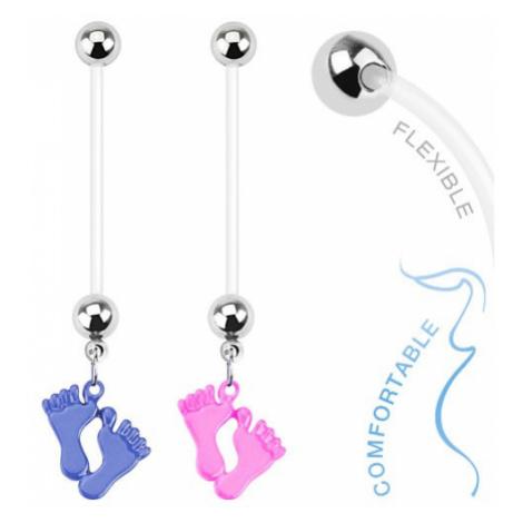 Piercing do bříška z bioflexu - barevné dětské nožičky - Barva piercing: Růžová Šperky eshop