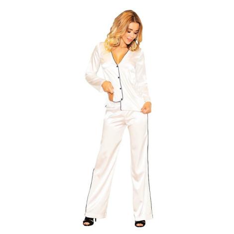 Saténové pyžamo Termi ecru