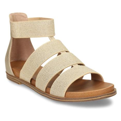 Zlaté dámské páskové sandály Baťa