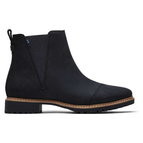 Water Resistant Black Leather Women Cleo Boot Toms