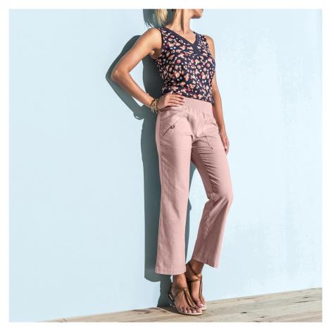 Blancheporte 7/8 kalhoty len/bavlna růžová pudrová