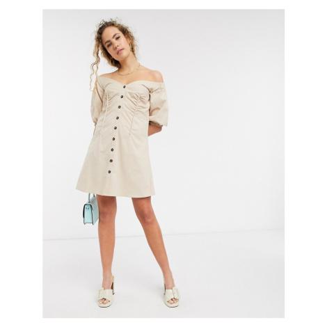 Lost Ink bardot button front mini dress-Beige