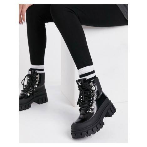 Koi Footwear Syndrome vegan chunky hiker boots in black