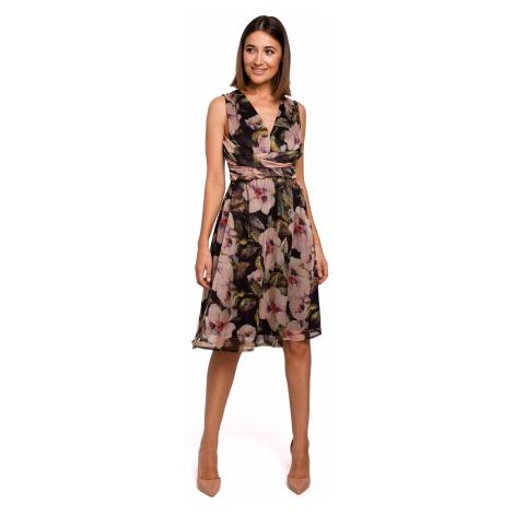Letní šifónové šaty na ramínka s květinami a výstřihem