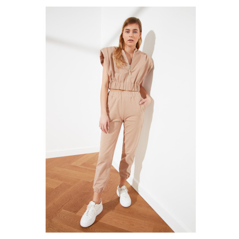Trendyol Camel Vatkali Crop and Jogger Knitted Tracksuit Suit