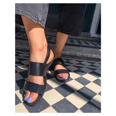 Vagabond Tia double strap leather flat sandals in black