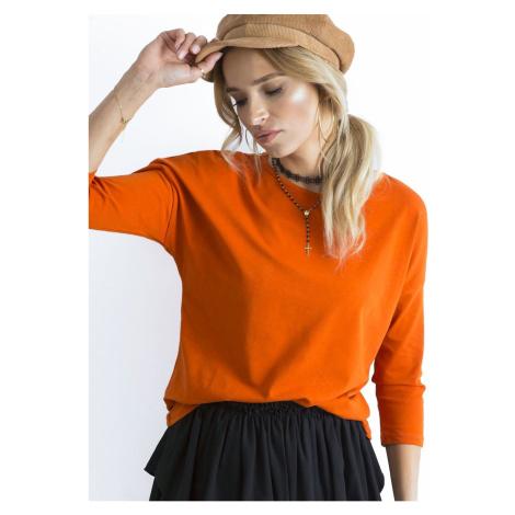 Basic blouse with 3/4 sleeves, dark orange Fashionhunters
