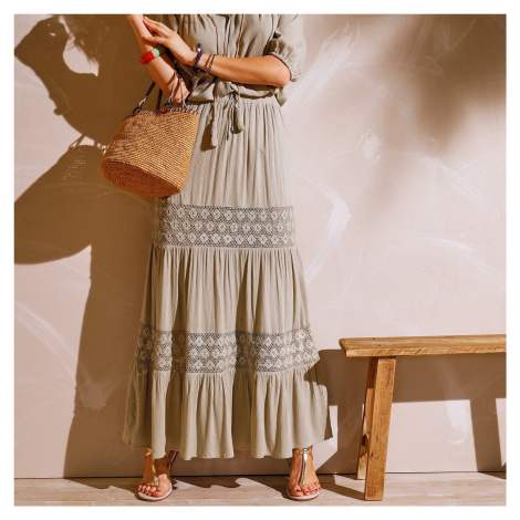 Blancheporte Dlouhá kreponová sukně khaki