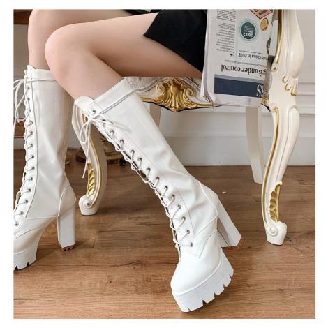 Lesklé kozačky lakovaná kůže šněrovací vysoké boty na podpatku