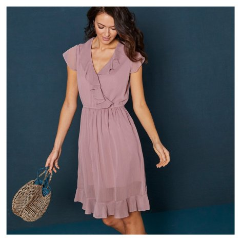 Blancheporte Krátké jednobarevné šaty s volány a krátkými rukávy růžová pudrová