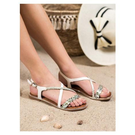 Krásné dámské  sandály bílé bez podpatku SMALL SWAN