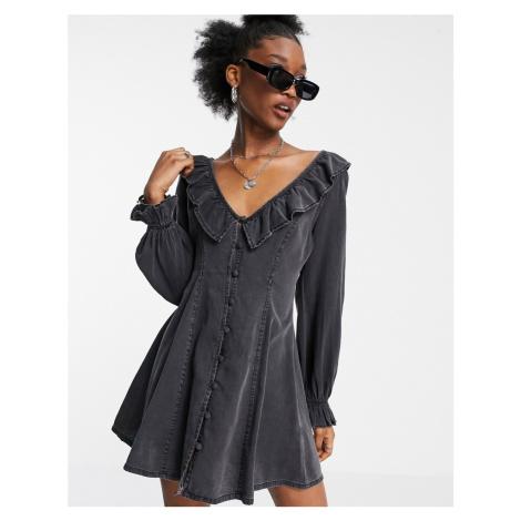 ASOS DESIGN soft denim ruffle tea dress in washed black