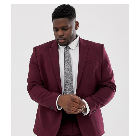 River Island Big & Tall skinny suit jacket in burgundy-Red