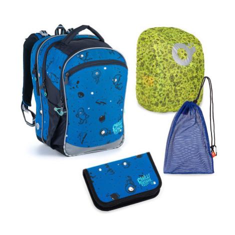 Velký školní set Topgal COCO 21017 B batoh + penál + pytlík na přezůvky + pláštěnka