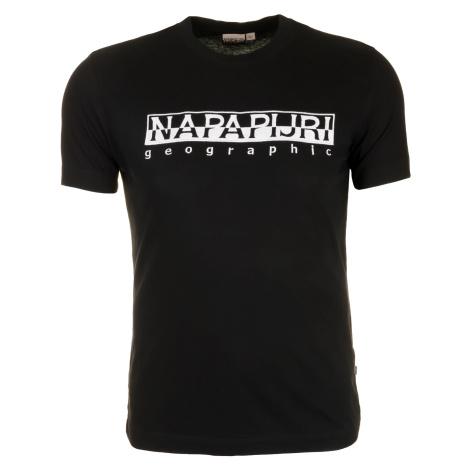 Pánské černé tričko Napapijri s velkým vyšitým logem