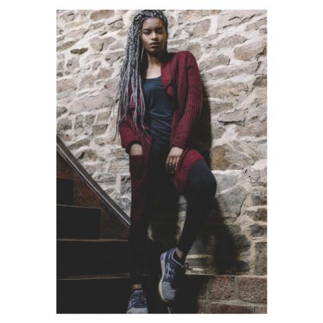 Urban Classics Ladies Knitted Long Cape burgundy