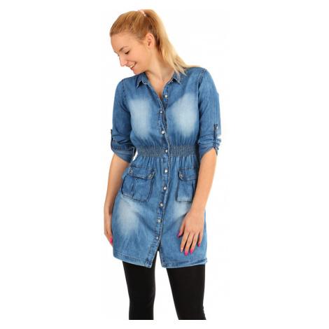Krátké dámské riflové šaty s tříčtvrtečními rukávy
