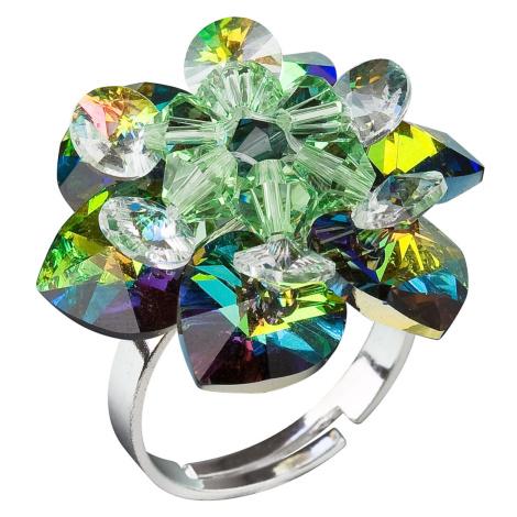 Evolution Group Stříbrný prsten s krystaly Swarovski zelená kytička 35012.5