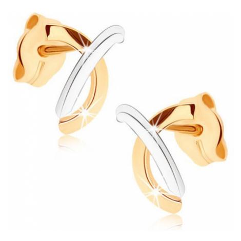 Zlaté náušnice 375 - lesklé překřížené obloučky ve dvou odstínech