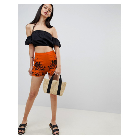 ASOS DESIGN soft shorts with embroidery - Orange